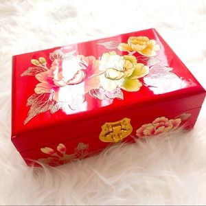 Handmade Floral Jewelry Storage Box-Lacquered Wood